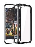 Eiroo Hard Glass iPhone 7 / 8 Siyah Rubber Kenarlı Cam Kılıf