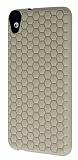 Eiroo Honeycomb HTC Desire 820 Krem Silikon Kılıf
