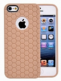 Eiroo Honeycomb iPhone 5 / 5S Krem Silikon K�l�f