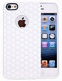 Eiroo Honeycomb iPhone 5 / 5S Beyaz Silikon K�l�f