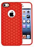 Eiroo Honeycomb iPhone 5 / 5S K�rm�z� Silikon K�l�f
