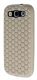 Eiroo Honeycomb Samsung i9300 Galaxy S3 Krem Silikon K�l�f