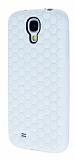 Eiroo Honeycomb Samsung i9500 Galaxy S4 Beyaz Silikon K�l�f