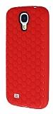 Eiroo Honeycomb Samsung i9500 Galaxy S4 K�rm�z� Silikon K�l�f