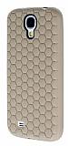 Eiroo Honeycomb Samsung i9500 Galaxy S4 Krem Silikon K�l�f