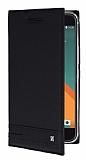 HTC 10 Gizli Mıknatıslı Yan Kapaklı Siyah Deri Kılıf