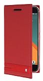HTC 10 Gizli Mıknatıslı Yan Kapaklı Kırmızı Deri Kılıf