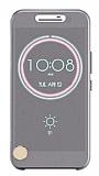 Eiroo HTC 10 Ice View Cover Şeffaf Gri Kapaklı Kılıf