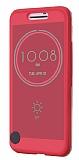 Eiroo HTC 10 Ice View Cover Şeffaf Pembe Kapaklı Kılıf