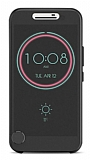 Eiroo HTC 10 Ice View Cover Şeffaf Siyah Kapaklı Kılıf