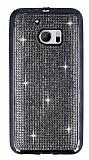 Eiroo HTC 10 Taşlı Siyah Silikon Kılıf