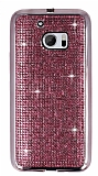 Eiroo HTC 10 Taşlı Pembe Silikon Kılıf