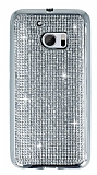 Eiroo HTC 10 Taşlı Silver Silikon Kılıf