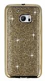 Eiroo HTC 10 Taşlı Gold Silikon Kılıf