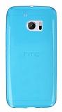 HTC 10 Ultra İnce Şeffaf Mavi Silikon Kılıf