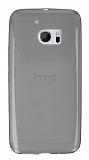 HTC 10 Ultra İnce Şeffaf Siyah Silikon Kılıf