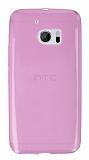 HTC 10 Ultra İnce Şeffaf Pembe Silikon Kılıf
