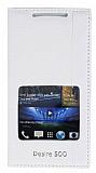 Eiroo HTC Desire 500 Gizli M�knat�sl� Pencereli Beyaz Deri K�l�f