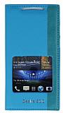Eiroo HTC Desire 500 Gizli M�knat�sl� Pencereli Mavi Deri K�l�f