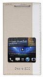 Eiroo HTC Desire 500 Gizli M�knat�sl� Pencereli Gold Deri K�l�f
