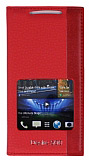 Eiroo HTC Desire 500 Gizli M�knat�sl� Pencereli K�rm�z� Deri K�l�f