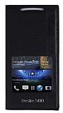 Eiroo HTC Desire 500 Gizli M�knat�sl� Pencereli Siyah Deri K�l�f
