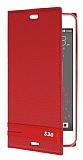 HTC Desire 530 Gizli Mıknatıslı Yan Kapaklı Kırmızı Deri Kılıf