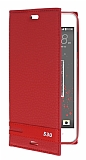 Eiroo HTC Desire 530 Gizli Mıknatıslı Yan Kapaklı Kırmızı Deri Kılıf