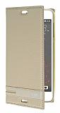 Eiroo HTC Desire 530 Gizli Mıknatıslı Yan Kapaklı Gold Deri Kılıf