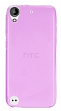 Eiroo HTC Desire 530 Ultra İnce Şeffaf Pembe Silikon Kılıf