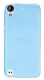 HTC Desire 530 Ultra İnce Şeffaf Mavi Silikon Kılıf
