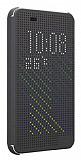 Eiroo HTC Desire 620 Dot View Uyku Modlu İnce Yan Kapaklı Füme Kılıf