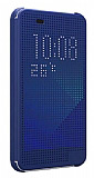 Eiroo HTC Desire 620 Dot View Uyku Modlu İnce Yan Kapaklı Lacivert Kılıf