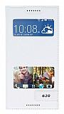 HTC Desire 620 Gizli Mıknatıslı Çift Pencereli Beyaz Kılıf