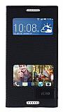 Eiroo HTC Desire 620 Gizli Mıknatıslı Çift Pencereli Siyah Kılıf