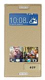 HTC Desire 620 Gizli Mıknatıslı Çift Pencereli Gold Kılıf