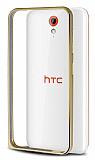 Eiroo HTC Desire 620 Gold Çizgili Gold Metal Bumper Kılıf