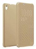 Eiroo HTC Desire 626 Dot View Uyku Modlu İnce Yan Kapaklı Gold Kılıf
