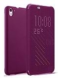 Eiroo HTC Desire 626 Dot View Uyku Modlu İnce Yan Kapaklı Mor Kılıf
