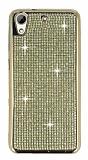 Eiroo HTC Desire 626 Taşlı Gold Silikon Kılıf