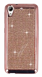 Eiroo HTC Desire 626 Taşlı Rose Gold Silikon Kılıf