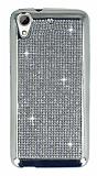 Eiroo HTC Desire 626 Taşlı Silver Silikon Kılıf