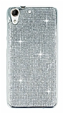 Eiroo HTC Desire 728G Taşlı Silver Silikon Kılıf