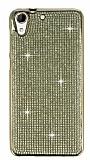 Eiroo HTC Desire 728G Taşlı Gold Silikon Kılıf