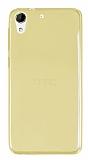 Eiroo HTC Desire 728G Ultra İnce Şeffaf Gold Silikon Kılıf