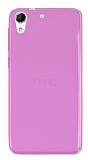 Eiroo HTC Desire 728G Ultra İnce Şeffaf Pembe Silikon Kılıf