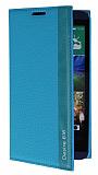 HTC Desire 816 Gizli Mıknatıslı İnce Yan Kapaklı Mavi Deri Kılıf