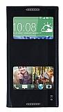 HTC Desire 816 Gizli Mıknatıslı Pencereli Siyah Deri Kılıf