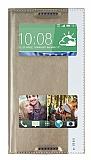 HTC Desire 816 Gizli Mıknatıslı Pencereli Gold Deri Kılıf