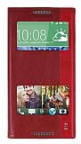 HTC Desire 816 Gizli Mıknatıslı Pencereli Kırmızı Deri Kılıf
